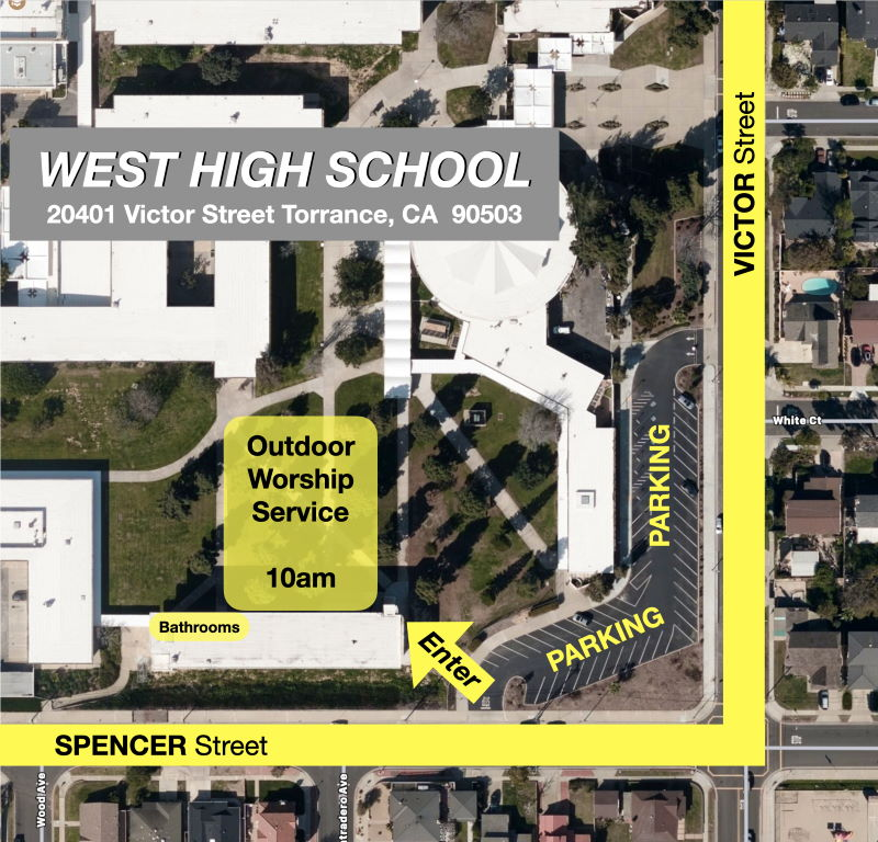 Map to outdoor worship service at West High School